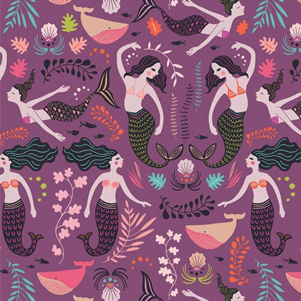 Purple mermaid Orchid cotton Fabrics design