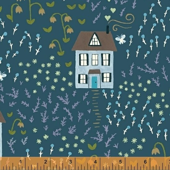 Teal bungalow house fabrics design