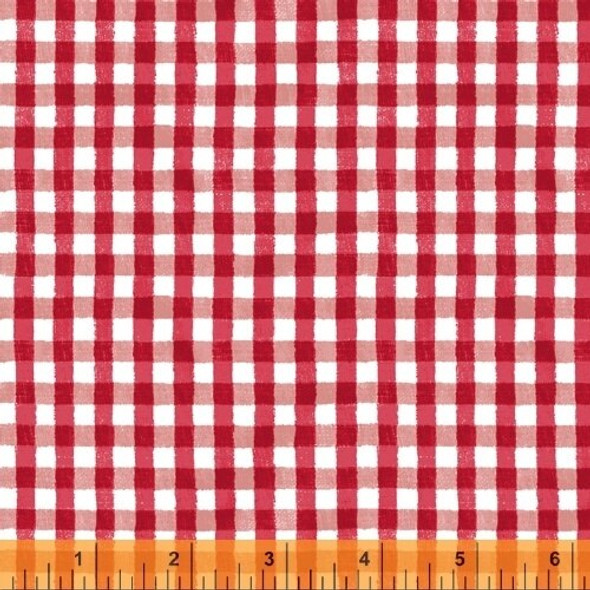Red gingham plaid cotton fabrics design