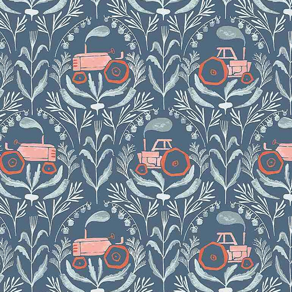 Tractors teal cotton Poppy Prairie fabrics design