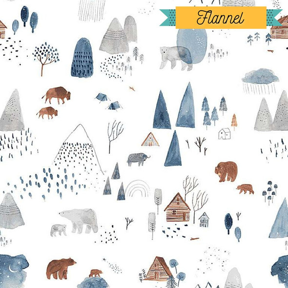 Bear Bison Cozy cabins FLANNEL fabrics design