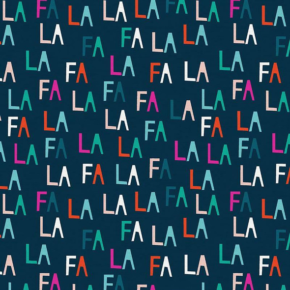 Navy Fa La letters cotton Fabrics design