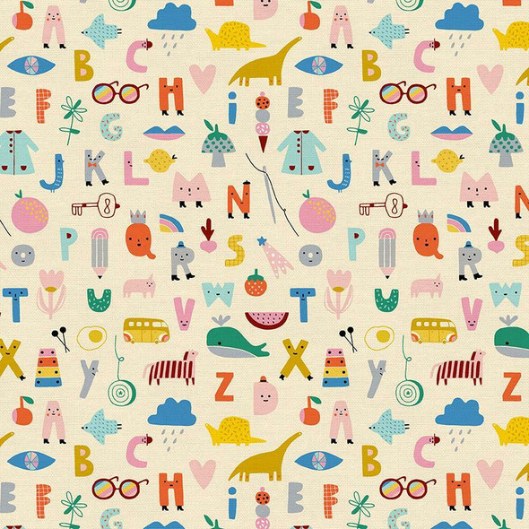 Colorful kids animal alphabet Fabrics design
