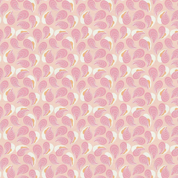 Pink oysters Fishermans Village fabrics design