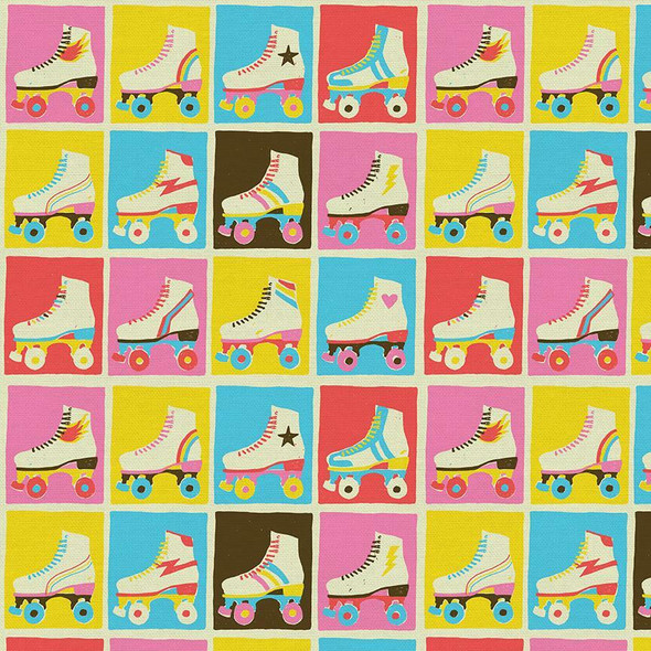 Retro skates Good Times Roll cotton fabrics design