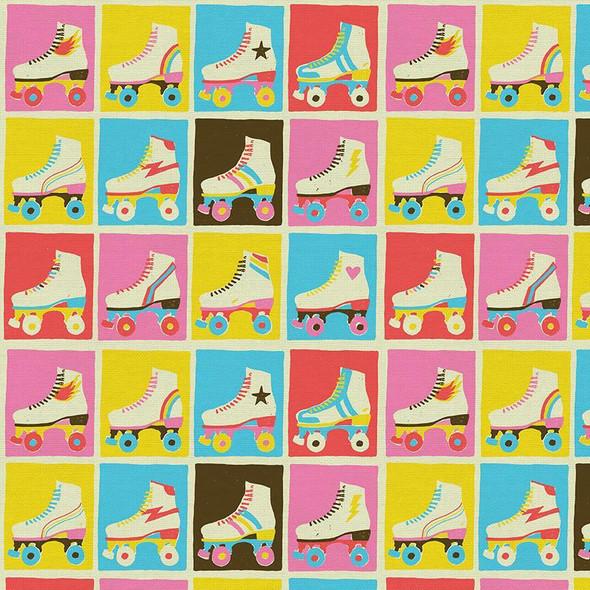 Retro skates Good Times Roll cotton fabrics design