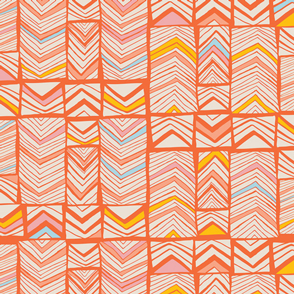 Art Gallery Fabrics Meadow, Geos Bright Mandarin, QTR YD