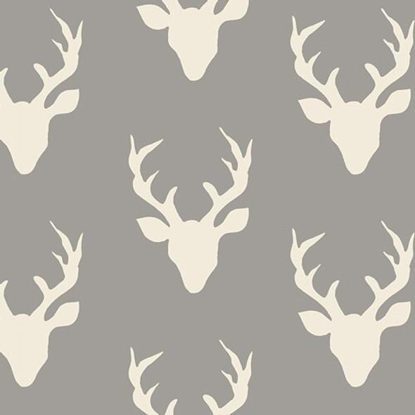 Deer Silhouette Buck Forest Mist fabrics design