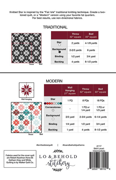 Knitted Star Quilt pattern-Lo and Behold Stichery