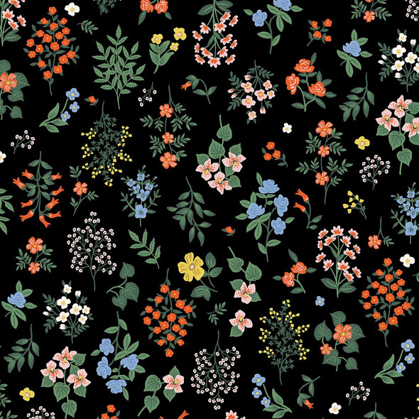 Strawberry Fields Black Hawthorne cotton fabrics design