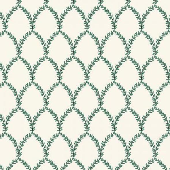Green cream Laurel fabrics design