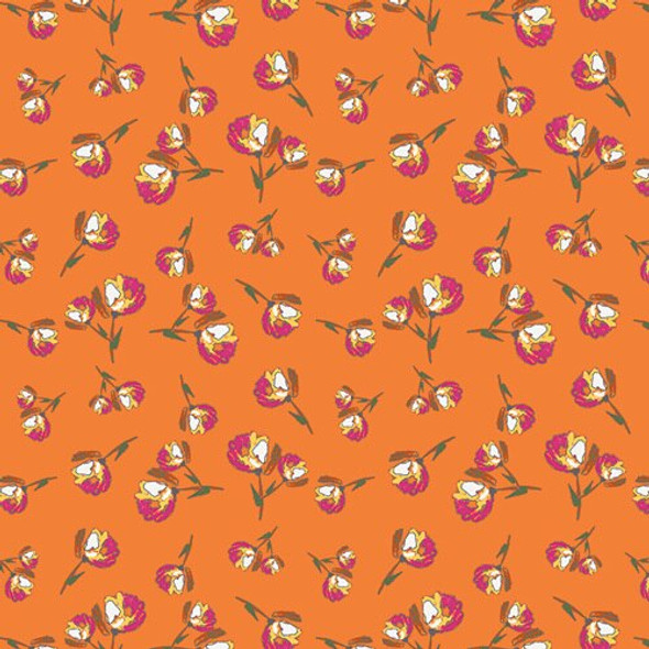 Orange pink Wild Bloom cotton fabrics design