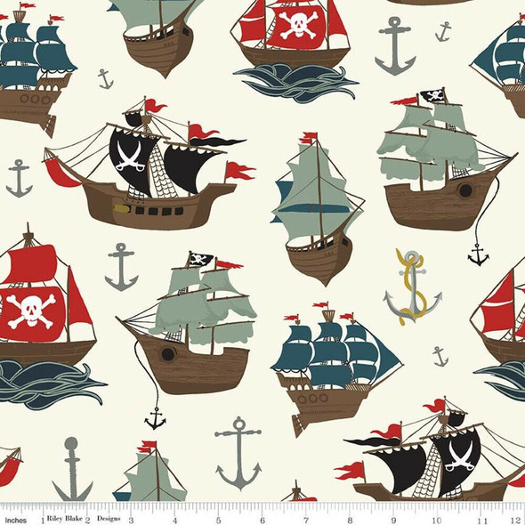 Pirate Ships cream fabrics design