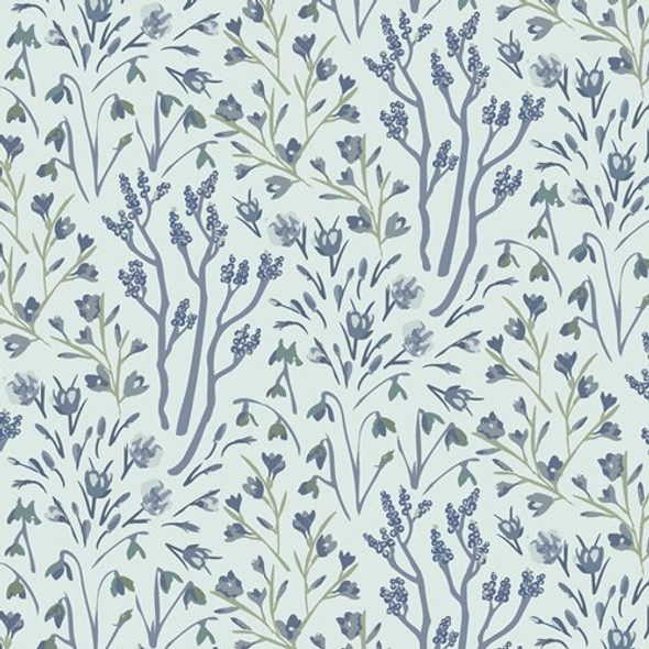 Blue Winter Frost floral fabrics design