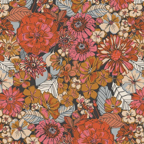 Dark earth tone floral fabrics design