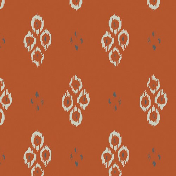 Rust orange Ikat Diamond Rustic fabrics design