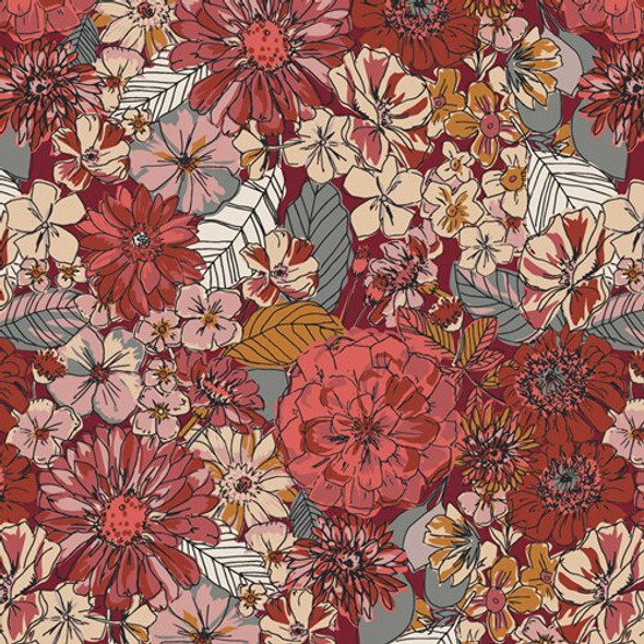 Earth tone floral cotton fabrics design