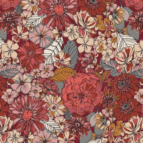 Earth tone floral cotton fabrics design