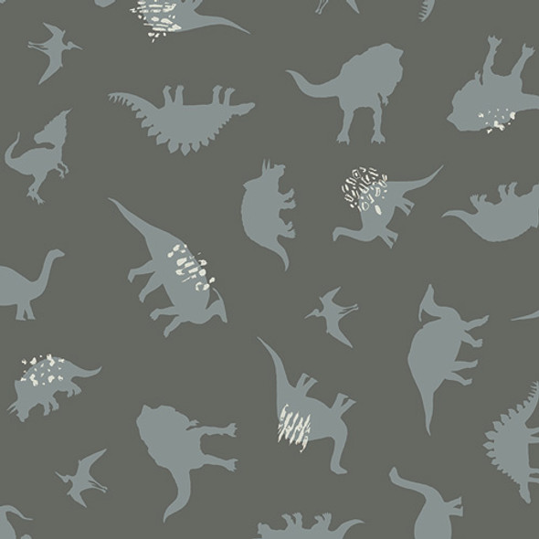 Gray Dinosaur fabric - AGF Esoterra Dinomania Subtle cotton QTR YD