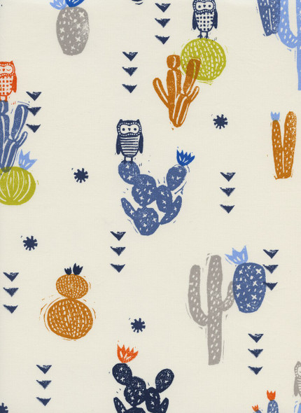 Desert Bloom cactus ink lawn fabrics design