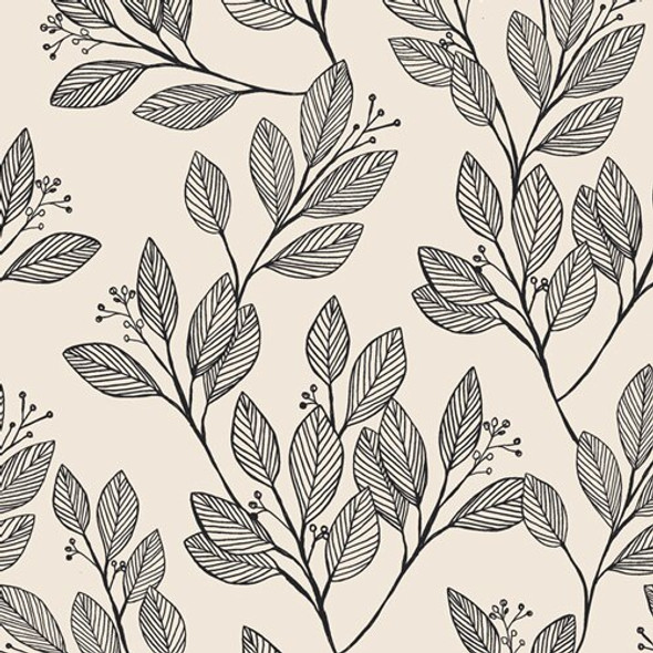 Black White Leaves cotton fabrics design
