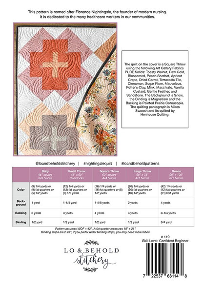 Nightingale Quilt pattern fabrics design