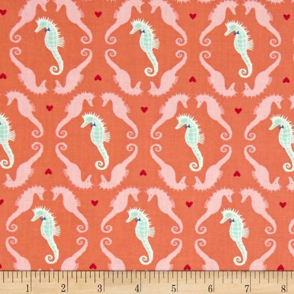 Coral Seahorses Beach Fabrics design