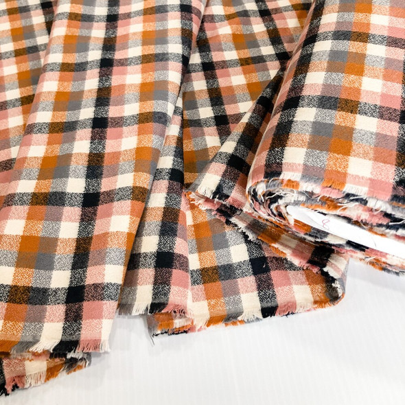 Nutmeg plaid FLANNEL cotton fabrics design