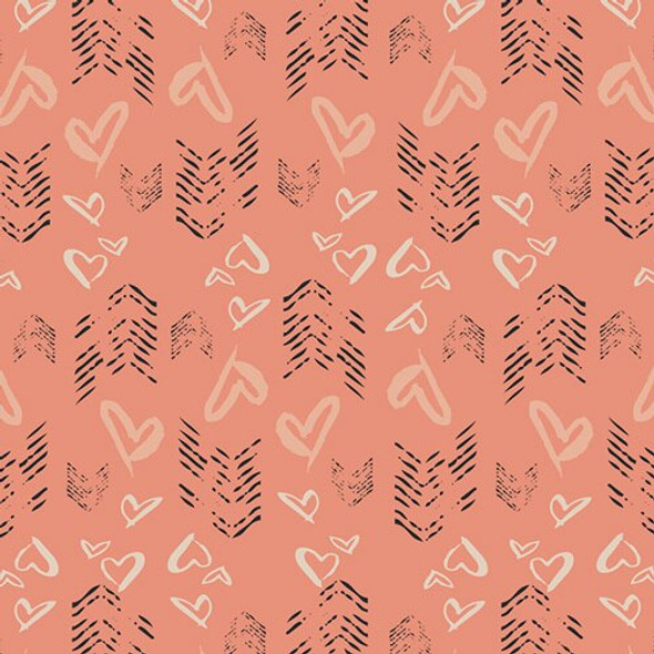 Blush Hearts Fletching cotton fabrics design