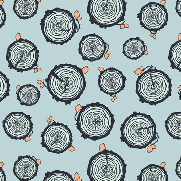 Blue Tree Trunks cotton fabrics design