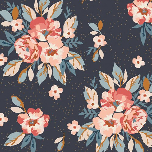 Navy floral Homebody cotton Fabrics design