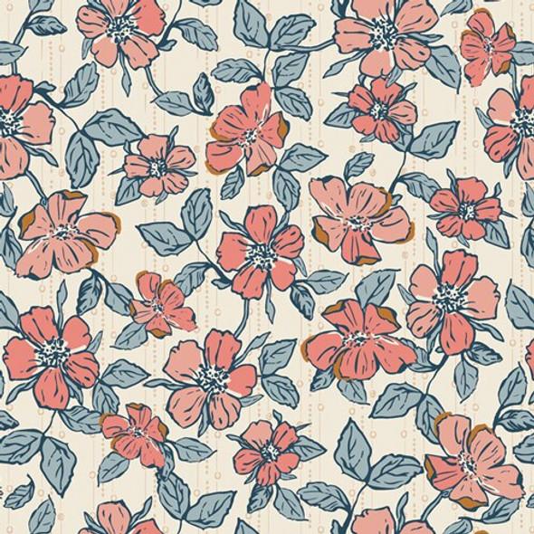 Blue pink floral Homebody cotton fabrics design