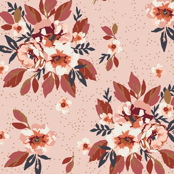 Pink floral cotton fabrics design