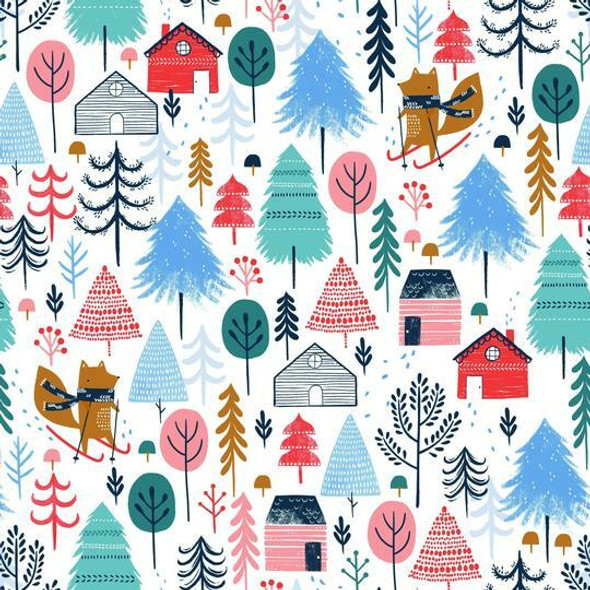 Snow Village cotton fabrics design