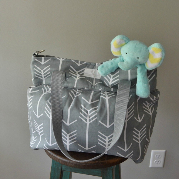 Gray Arrow Diaper Tote Messenger Bag