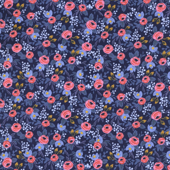 Rosa Navy floral cotton fabrics design