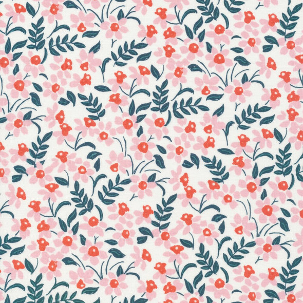 Pink Red small floral organic cotton fabrics design