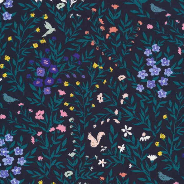 Navy green woodland floral cotton fabrics design