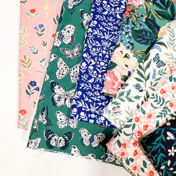 Navy green woodland floral Perennial cotton fabrics design