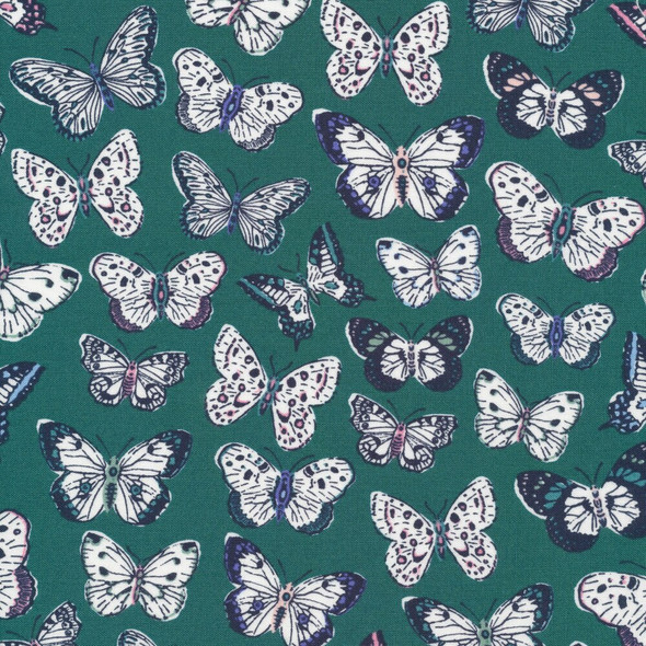 Green navy butterfly fabrics design