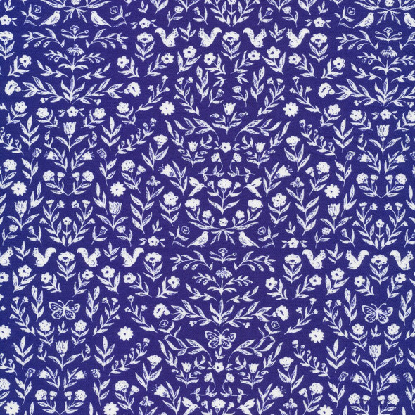 Blue woodland floral cotton fabrics design