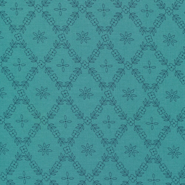 Teal diamond floral fabrics design