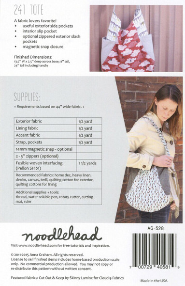 241 Tote bag sewing pattern Noodlehead paper