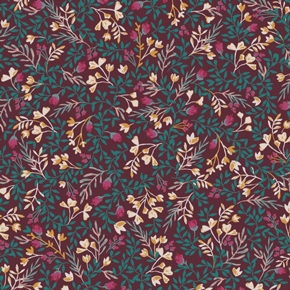Dark Purple Floral floral fabrics design