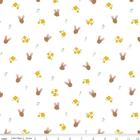 White Easter bunnies cotton fabrics design