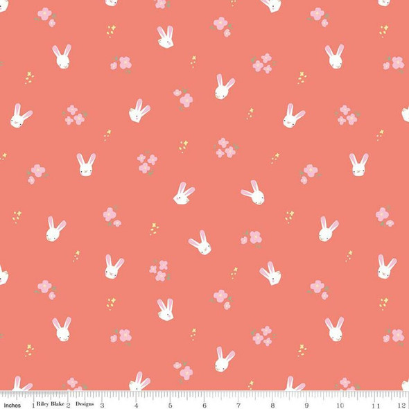 Coral Easter bunnies cotton fabrics design