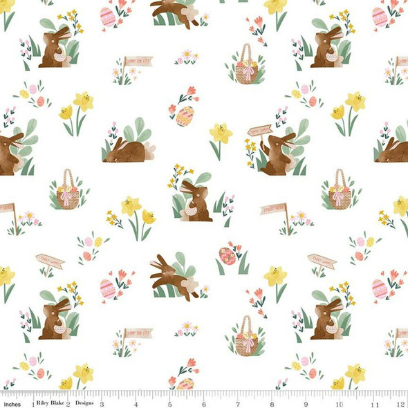 Easter white cotton fabrics design
