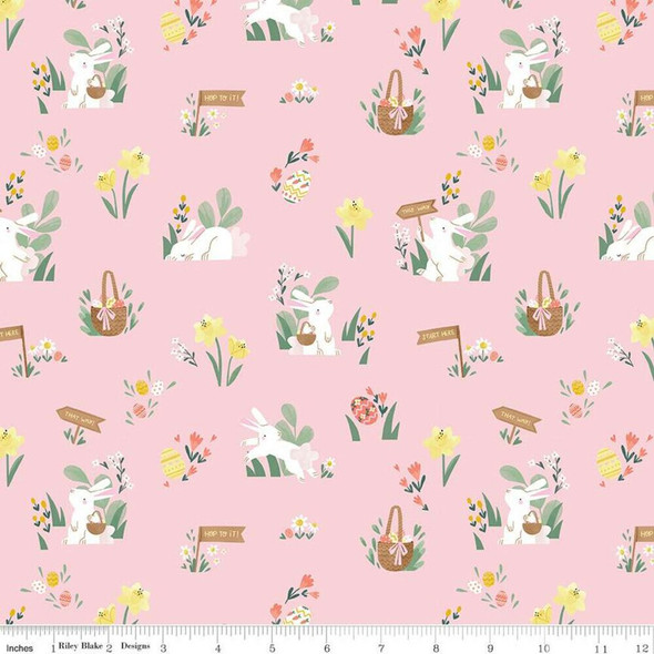 Easter powder pink cotton fabrics design