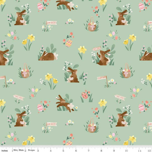 Easter fabric mint cotton fabrics design