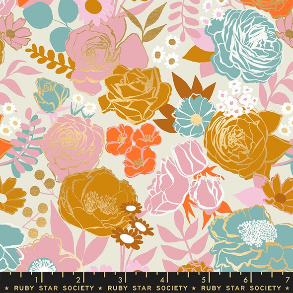 Grow floral cream fabrics design